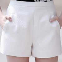 White Textured Relaxed Shorts