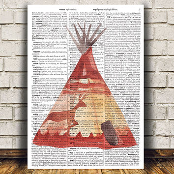 Dictionary poster Teepee print Tribal art Watercolor print RTA1414
