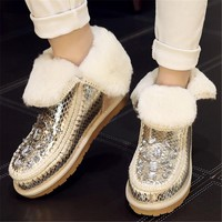 Gold Pink Winter Women Ankle Boots Thick Heel Fur Inside Warm Snow Booties Creepers Rhinestone Slip On Botines Mujer Big Size