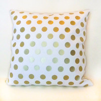 Metallic Gold polka dot pillow cover on ivory canvas for minimalist home decor