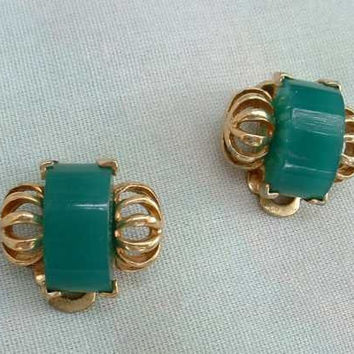 Retro Art Deco Style Teal Green Geometric Clip Earrings Vintage Jewelry