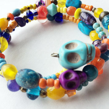 Boho Bracelet with skulls lots of colorful beads gothic hippie jewelry