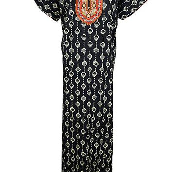 Mogul Interior Womens Maxi Dress Caftan Black Neck Embroidered Cotton Kaftan Nightgown Summer House Dress
