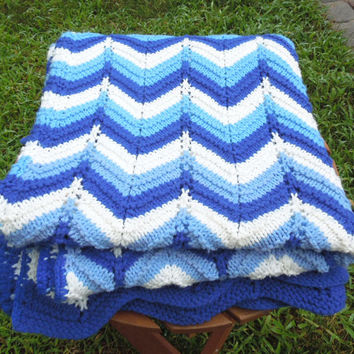 "Vintage crochet blanket afghan throw in blue white chevron pattern 61"" x 61"""