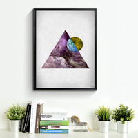 Triangle Art Print, Printable Art, Geometric Wall Art, scandinavian print, old paper texture Art, Mountain Print, Wall Decor *192*