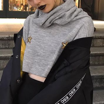 Women Casual Five-pointed Star Concave Stripe Turtleneck Long Sleeve T-shirt Crop Tops