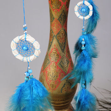 Blue Baby Mobile handmade exclusive Dreamcatcher bedroom Baby Mobiles bedding Blue DreamCatcher Dreamcatchers Christmas present blue balance