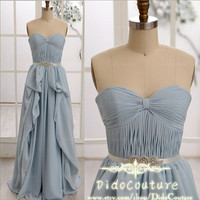 A-line Strapless Chiffon Prom Dress Sweetheart Cheap Bridesmaid Dress Light Sky Blue Evening Dress with a Sash