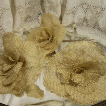 Set of 3 Large Burlap Flowers for wedding bouquet making, cake decorating. Take 10% off every order with coupon code 10Percent!