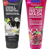 Freeman Mask Bundle: One Freeman Feeling Beautiful Facial Revealing Peel-off Mask Pomegranate 6 Oz and One Freeman Facial Charcoal & Black Sugar Polish Mask 6 Oz.