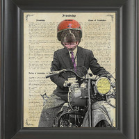 Dog Riding an old Motorcycle - Printed on Friendship page  -  250Gram paper.