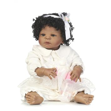 New 56cm Black Girl Body Reborn Doll Curly Simulation Full Silicone Realistic Good Quality Baby Alive Boneca Baby Alive Toys