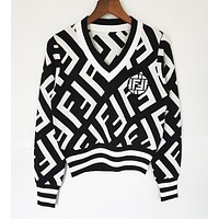 FENDI Autumn Winter Classic Popular Women  F Letter Jacquard V Collar Knit Sweater Sweatshirt