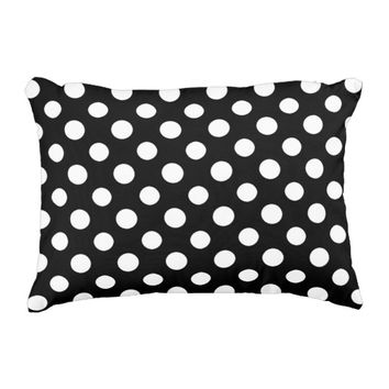 Black and White Polka Dot Pattern Decorative Pillow