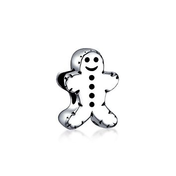 Holiday Christmas Gingerbread Man Cookie Charm Bead Sterling Silver
