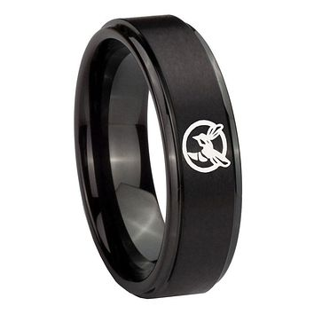 8MM Step Edges Black Honey Bee Tungsten Carbide Laser Engraved Ring