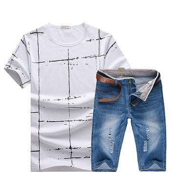 HCXY 2017 summer Tops  and Denim shorts 2 pieces set Brand Clothing  shorts Men Homme printing Sportswear Set Men shorts Set