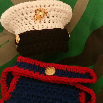 Marine Corps baby Hat and Diaper Cover Corps USMC Hat Set - Dress Blues 0-3 months Crochet Made to Order Photography Prop Baby Military Set