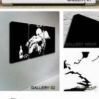 Fallen Angel White Black Canvas