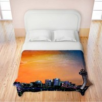 Duvet Cover Brushed Twill Twin, Queen, King from DiaNoche Designs by Corina Bakke Home Decor and Bedding Ideas - Denver Skyline Sports