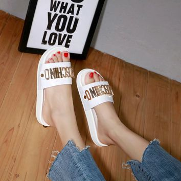 MOSCHINO Women Casual Shoes Boots  fashionable casual leather Women Heels Sandal Shoes