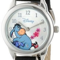 Disney Women's WTP053 Eeyore Black Leather Strap with Flower Charm Watch: Watches: Amazon.com