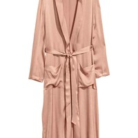 Long satin coat - Powder - Ladies | H&M GB