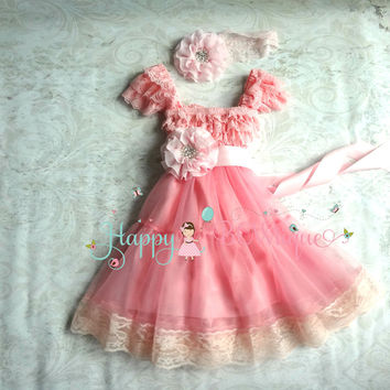 Girl's Bubblegum Pink Chiffon Lace Dress set