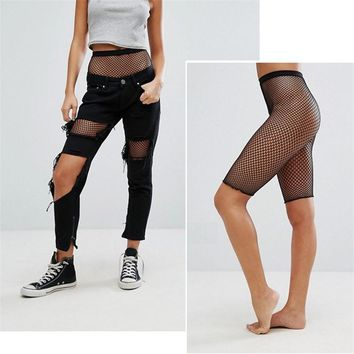 Fishnet Mesh Knee Length Stockings