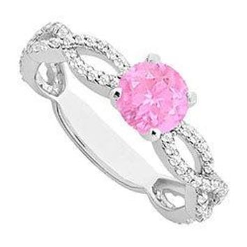 Pink Sapphire and Diamond Engagement Ring : 14K White Gold - 1.00 CT TGW