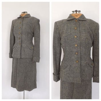 Vintage 1940s Suit Travel Suit Blazer Jacket Pencil Skirt Two Piece Set Gray Tweed Wool 40s Vogue Fall Outfit Classic 1940's Women's Suit