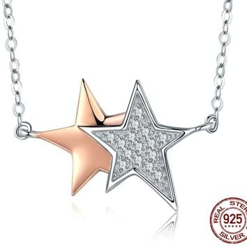 925 Sterling Silver & Rose Gold Shining Stars Pendant Necklace