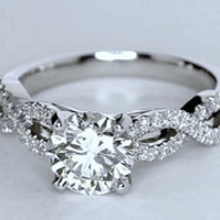 1.81ct Round Diamond Engagement ring D-VS2 18kt White Gold Infinit Twist JEWELFORME BLUE 900,000 GIA certified Diamonds