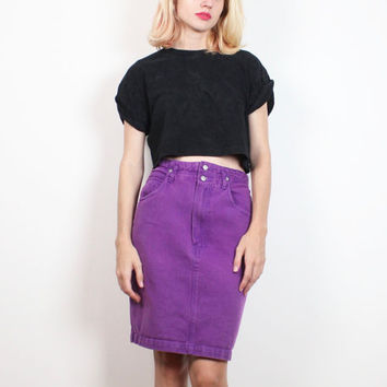 Vintage 1980s Skirt Purple Denim Skirt High Waisted Skirt Mini Skirt Jordache Denim Fitted Pencil Skirt Jean Skirt New Wave Party M L Large