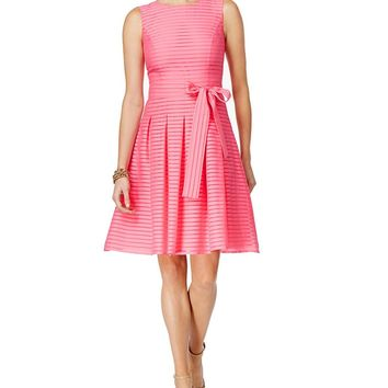 Tommy Hilfiger Illusion-Striped Fit & Flare Dress