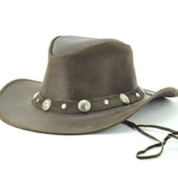 Lucky Trails Men's Buffalo Nickel/Silver Stud Leather Cowboy Hat (Small, Brown)