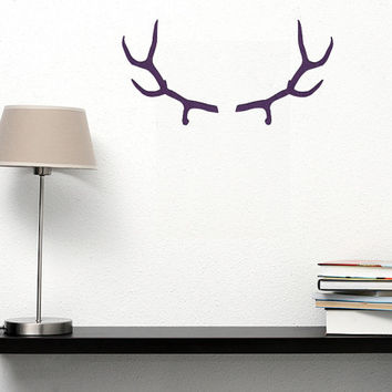 Deer Antlers Wall Decor - Deer Head Antlers Decal  - Velvet Fabric Wall Decals Sticker - Hunting Decal