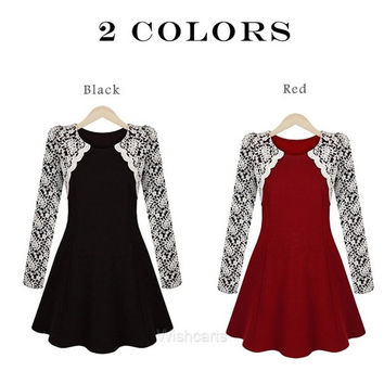 New Elegant Women's Lace Embroidery Backing Long Sleeve Dress Fashion Winter = 1902350404