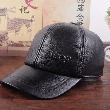 JEEP New Men's(Unisex)100% Real Leather Hat/Golf Hats/Black Brown Baseball Cap