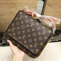 LV Louis Vuitton High Quality New Fashion Monogram Leather Leisure Women Shoulder Bag Coffee