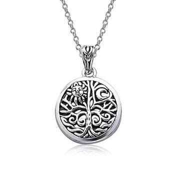 Celtic Sun Tree Life Medallion Pendant Necklace 925 Sterling Silver