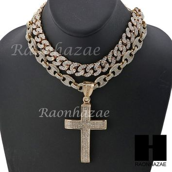 "Iced Out Large Cross Pendant 16"" Iced Out Choker 18"" Puffed Gucci Chain Set G44"