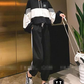 """""""Adidas"""" Woman's Leisure Fashion  Letter  Personality Printing  Spell Color Hooded Stripe Long  Sleeve Tops Trousers Two-Piece Set Casual Wear"""