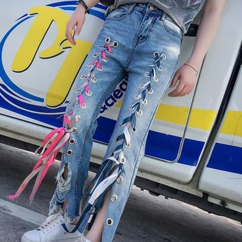 Blue Cut Out Pockets Buttons Color with Lace-up High Waisted Mom Long Jeans