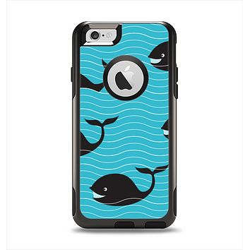 The Teal Smiling Black Whale Pattern Apple iPhone 6 Otterbox Commuter Case Skin Set