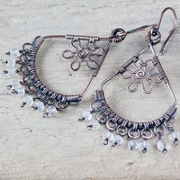 Handcrafted Copper Wirework Chandelier Earrings with Rock Crystal