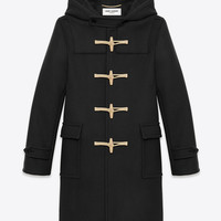 Saint Laurent CLASSIC DUFFLE COAT IN Black WOOL | ysl.com