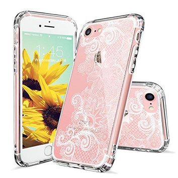 iPhone 8 Case, Clear iPhone 7 Case, MOSNOVO White Floral Lace Henna Mandala Pattern Clear Design Plastic Case with TPU Bumper Protective Cover for iPhone 7 (2016) / iPhone 8 (2017)