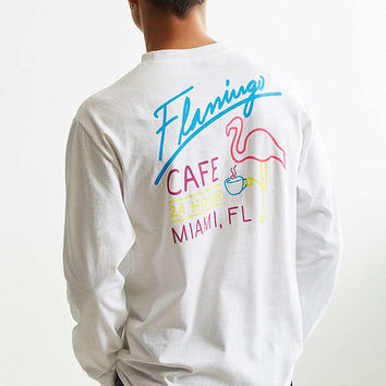 Riot Society Flamingo Cafe Long Sleeve Tee | Urban Outfitters
