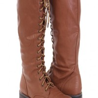 Camel Faux Leather Lace Up Mid Calf Riding Boots